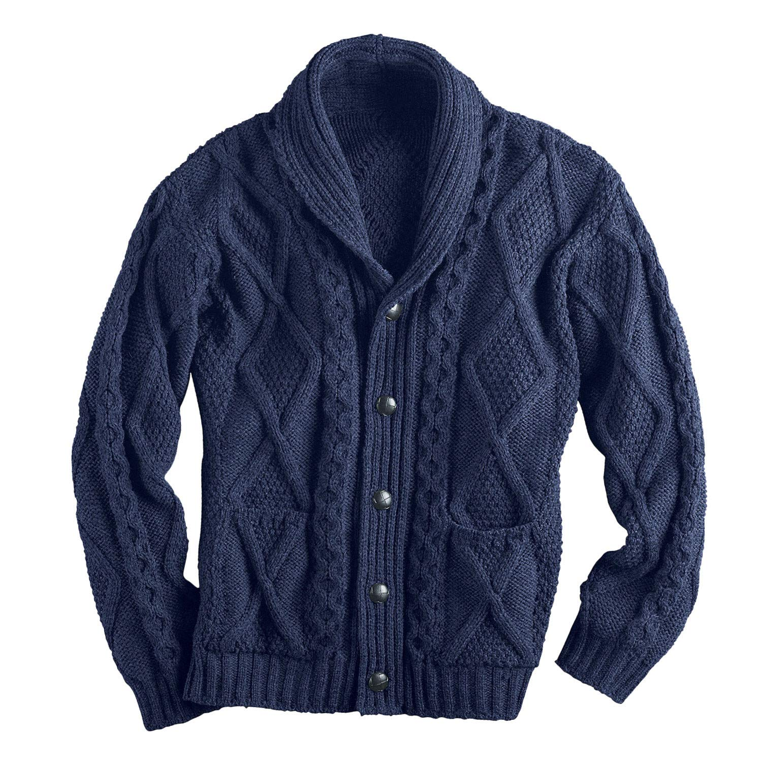 West End Knitwear Men's Aran Shawl Collar Cable Knit Cardigan Sweater - Navy - XL