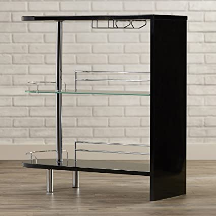 Amazoncom Modern Bar Table Counter Height With Wine Storage