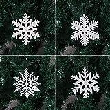 LOKIPA スノーフレーク オーナメント 雪 クリスマス 雪の結晶 10cm 吊り上げ紐付き 12枚セット クリスマス 飾り オーナメント キラキラ クリスマス用品 装飾 ホワイト