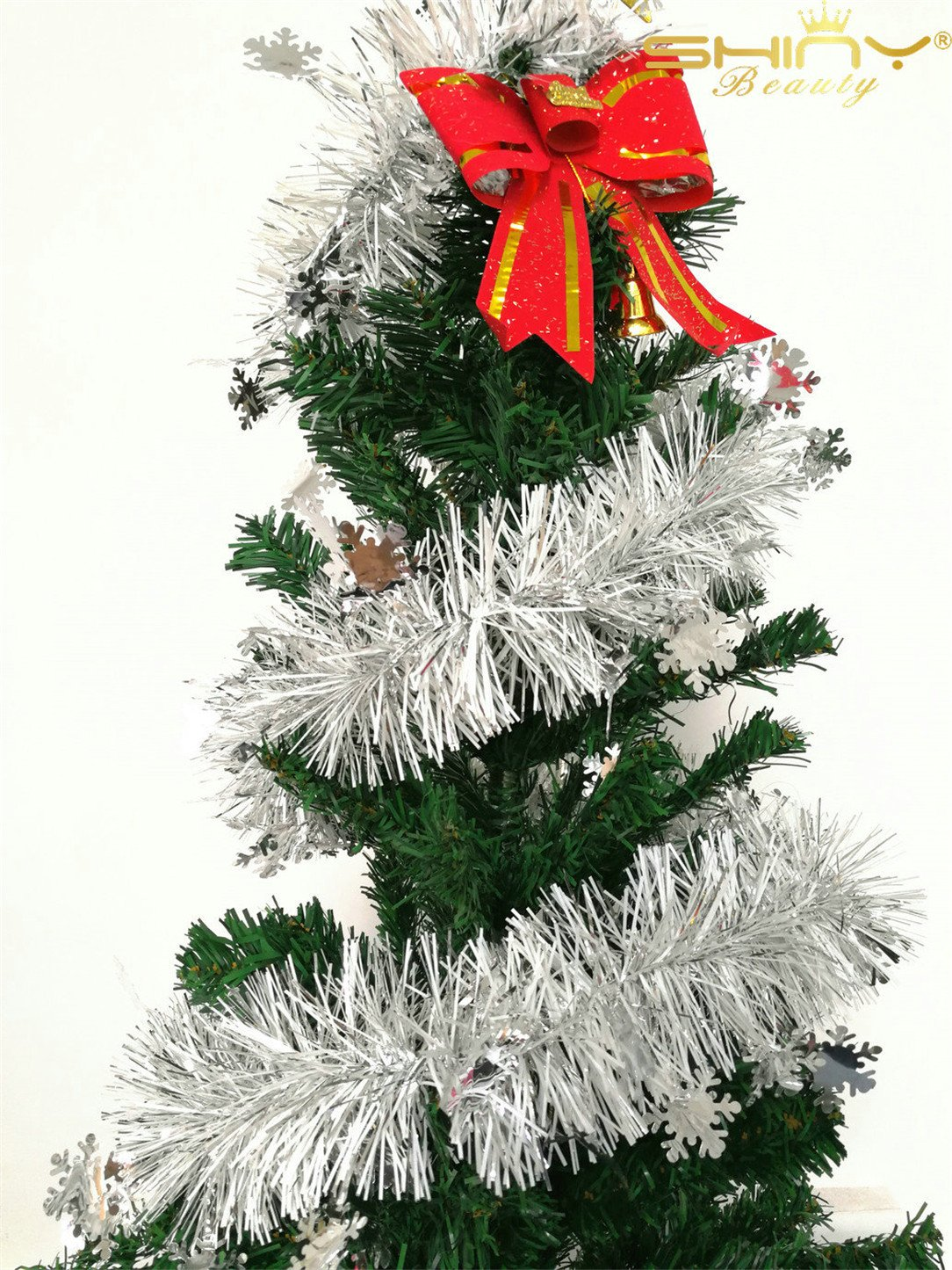 DUOBAO Christmas-Tinsel-Garland Full and Thick Fancy Party Hanging Christmas Tree Ornaments Tinsel Fringe Decorations, 15 Pcs 6.6 Ft (2M) x 3.4 inch Wide, Silver Snow- TG002~1025S