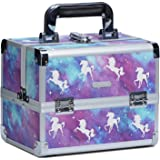 Joligrace Professional Makeup Organiser Box Cosmetic Case Storage Vanity Box with Mirror and Makeup Brushes Bag (Unicorn)