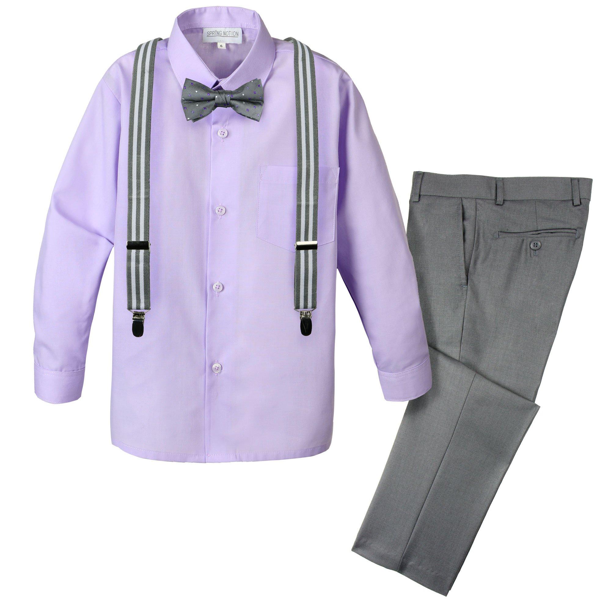 Spring Notion Boys' 4-Piece Patterned Dress up Pants Set 8 Grey/Lilac