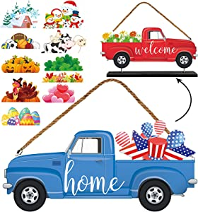 Jetec 13 Pieces Interchangeable Seasonal Welcome Sign Double Sided Door Hanging Truck Shaped Wooden Door Sign with Seasonal Ornaments for Front Porch Holiday Halloween Christmas Decoration