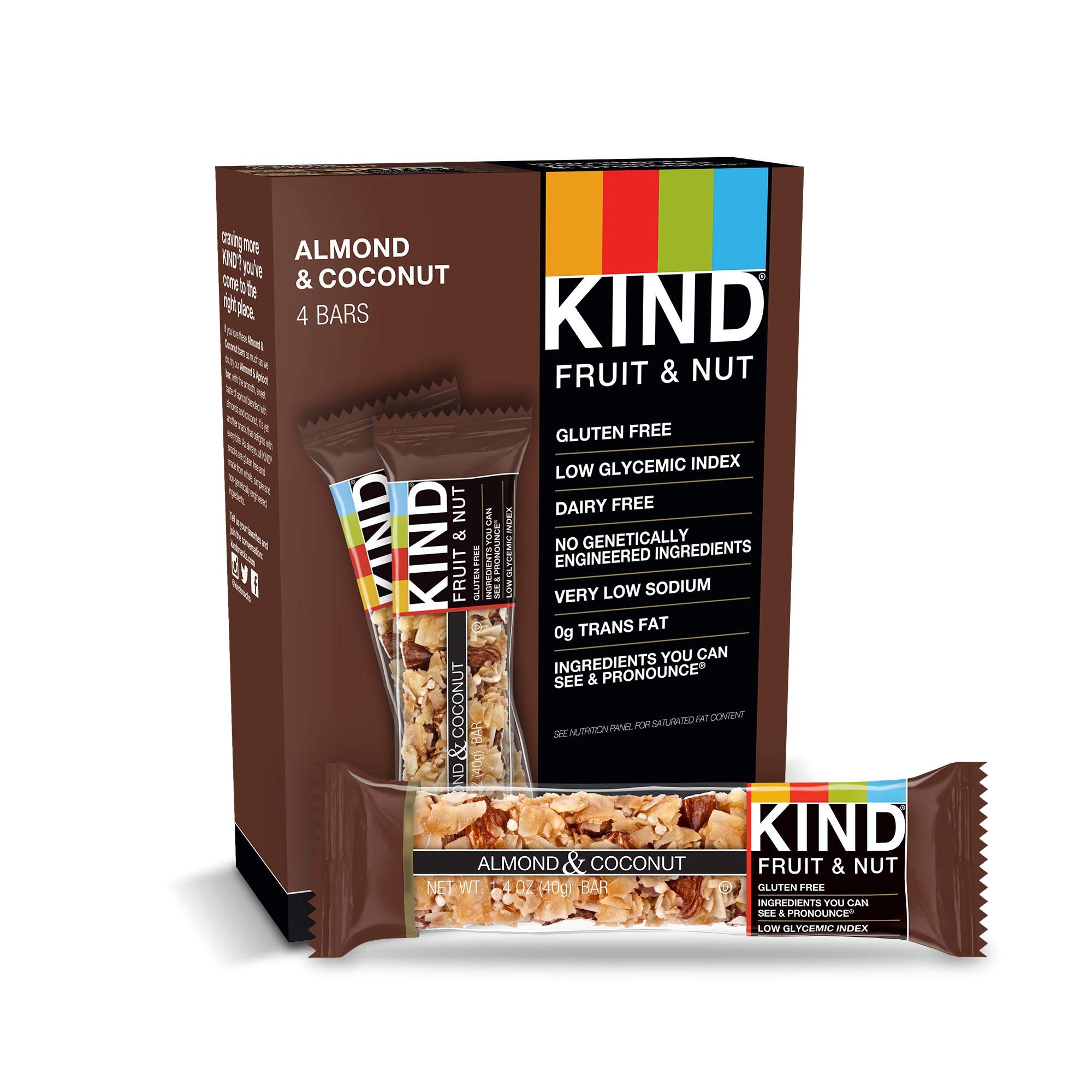 KIND Bars, Almond & Coconut, Gluten Free, Low Sugar, 1.4oz, 48 Count