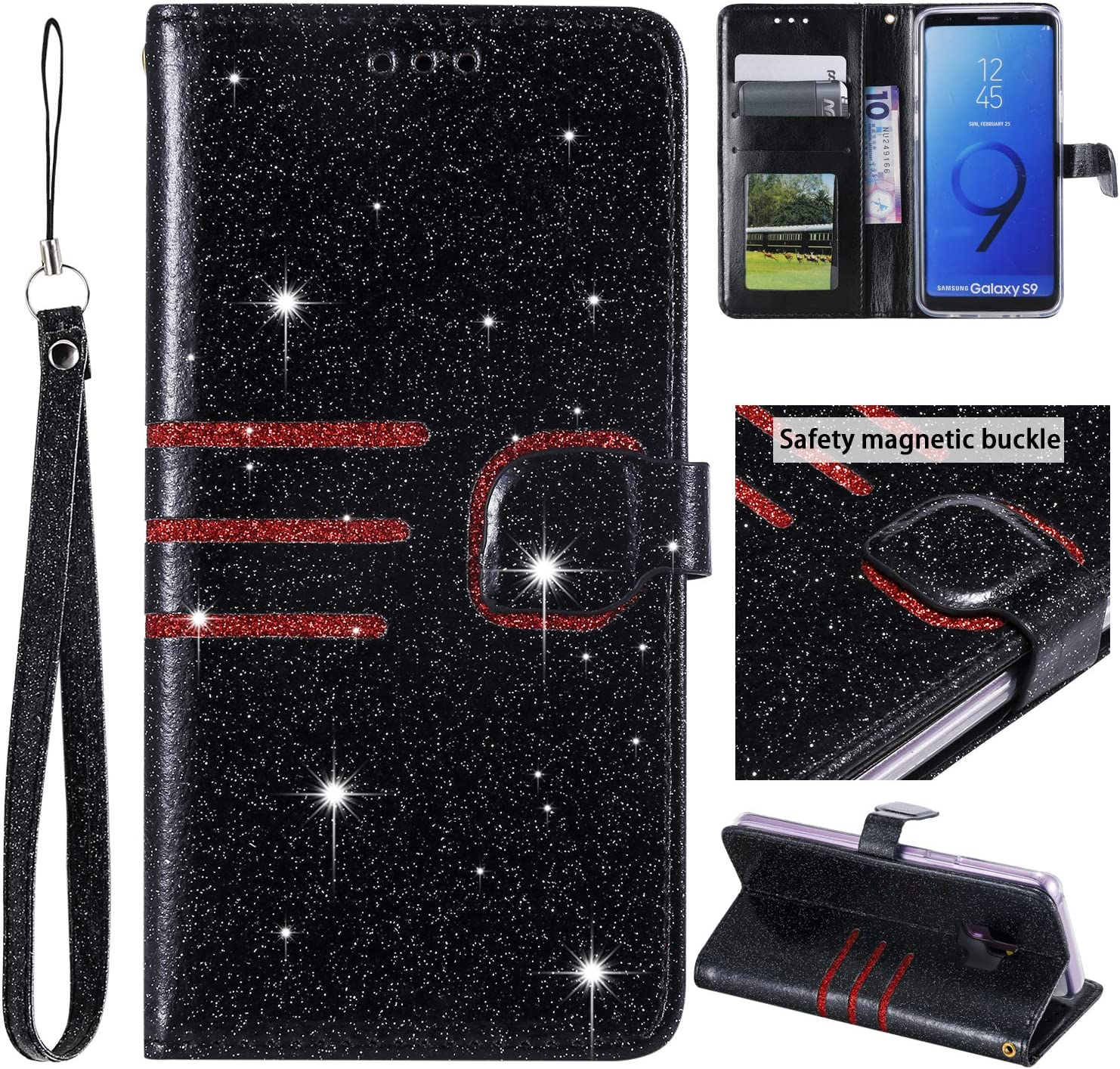 Gold Glitter Wallet Case for Samsung Galaxy S9 Plus with Wrist Strap,QFFUN Luxury Bling Magnetic Closure Folio Stand Feature PU Leather Phone Cases Flip Cover Bumper and Screen Protector