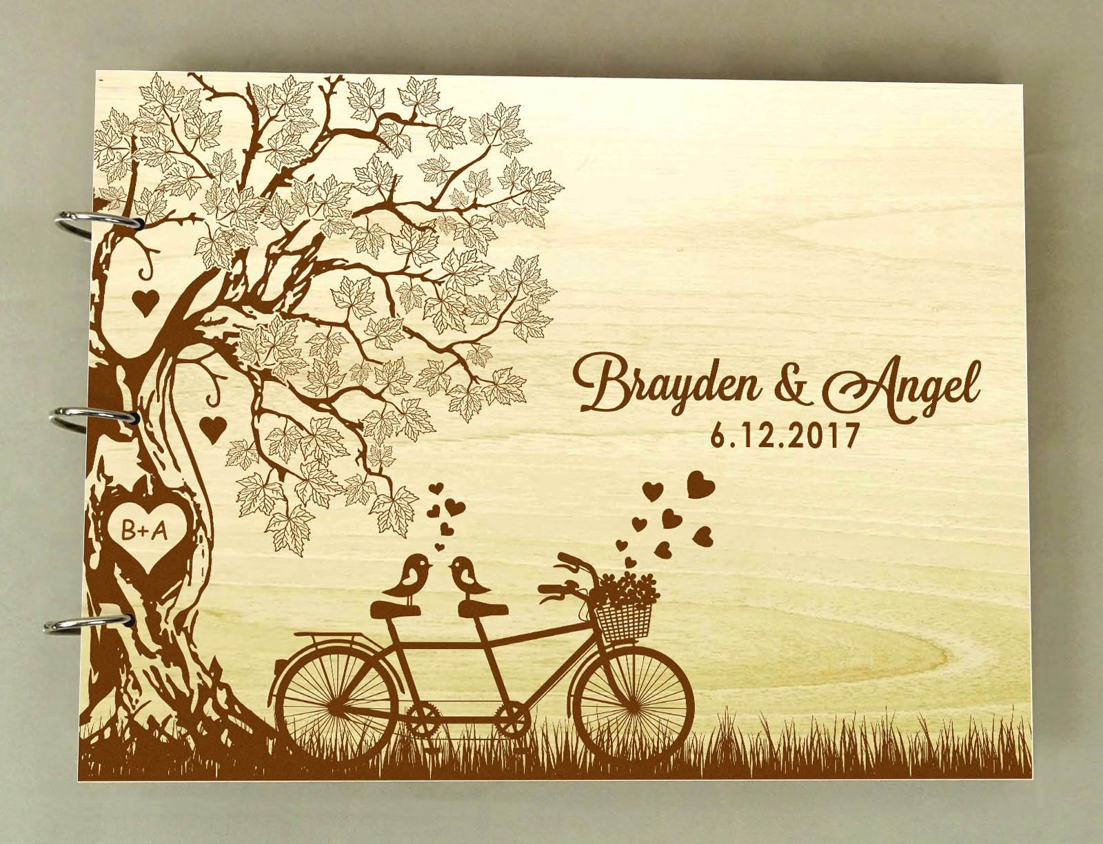 Rustic Wedding Wood Wooden Engraved Name Advice Book Handmade Personalized Tree Guest Book