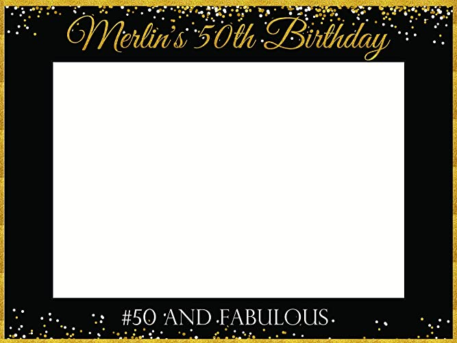 Custom Fifty Fabulous Photo Booth Prop 50th Birthday Decorations Sizes 36x24 48x36 Personalized Black And Gold Glitter Photobooth Selfie Frame Adult