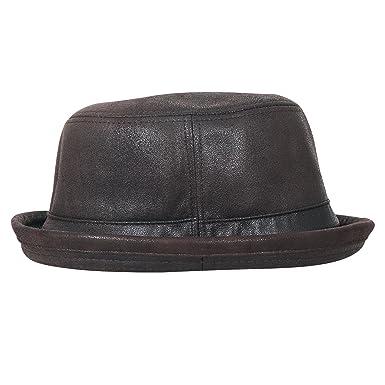 8a74c27a1bf ililily Vintage Faux Leather Rolled Short Brim Fedora Flat Pork Pie Hat,  Dark Brown,