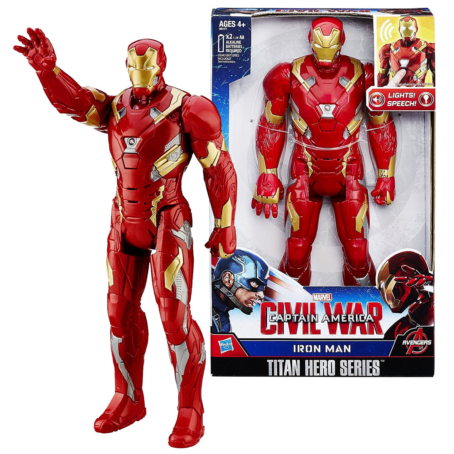 Marvel Year 2015 Captain America Civil War Titan Hero Series 12 Inch Tall Electronic Figure IRON MAN with Lights and Sounds HSBR