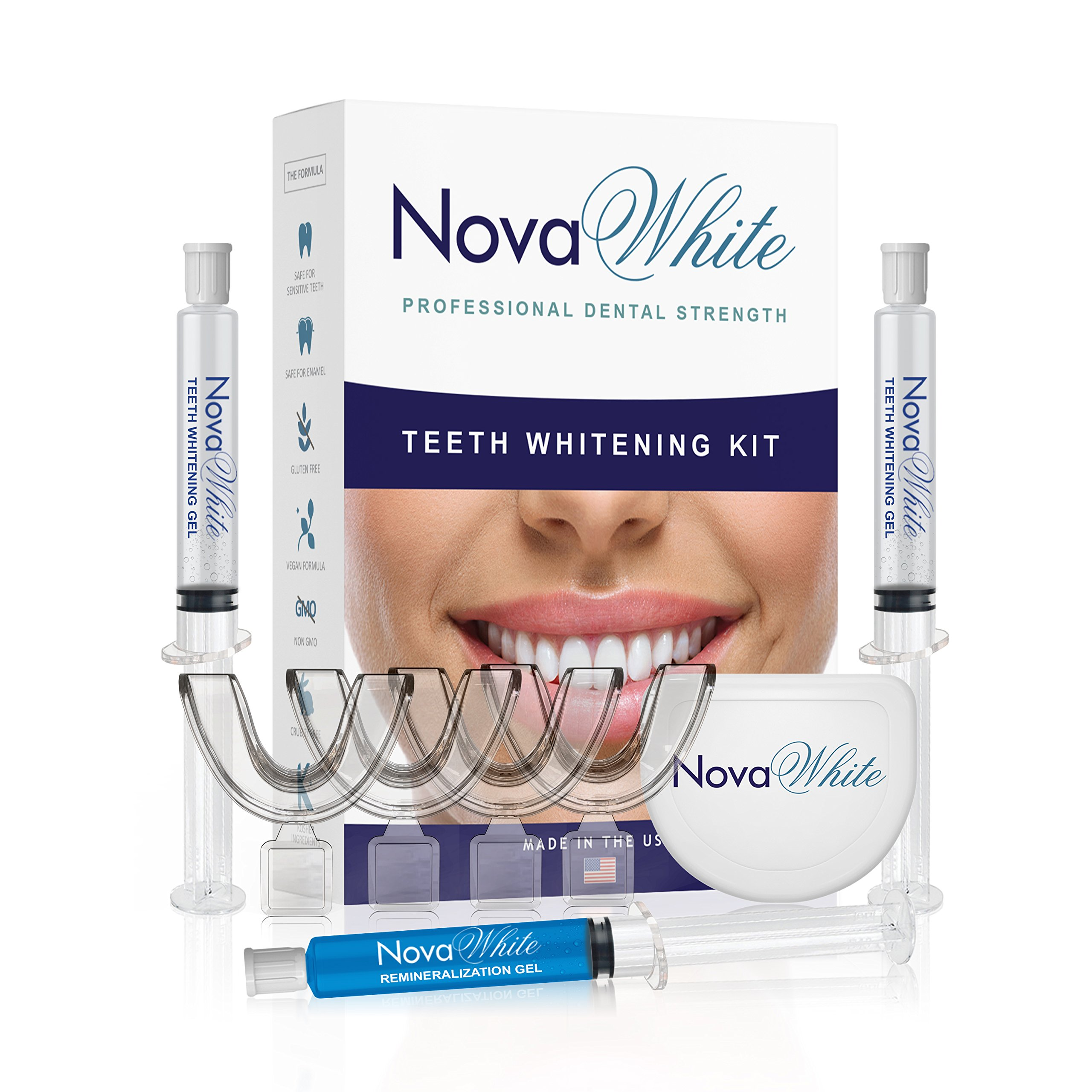 NovaWhite At Home Teeth Whitening Kit, 40 Whitening Treatments, (4) Whitener Trays, No Sensitivity Gel, At Home Professional Teeth Whitening Kit, Best Tooth Whitening Kit, Teeth Whitening Tray Kit