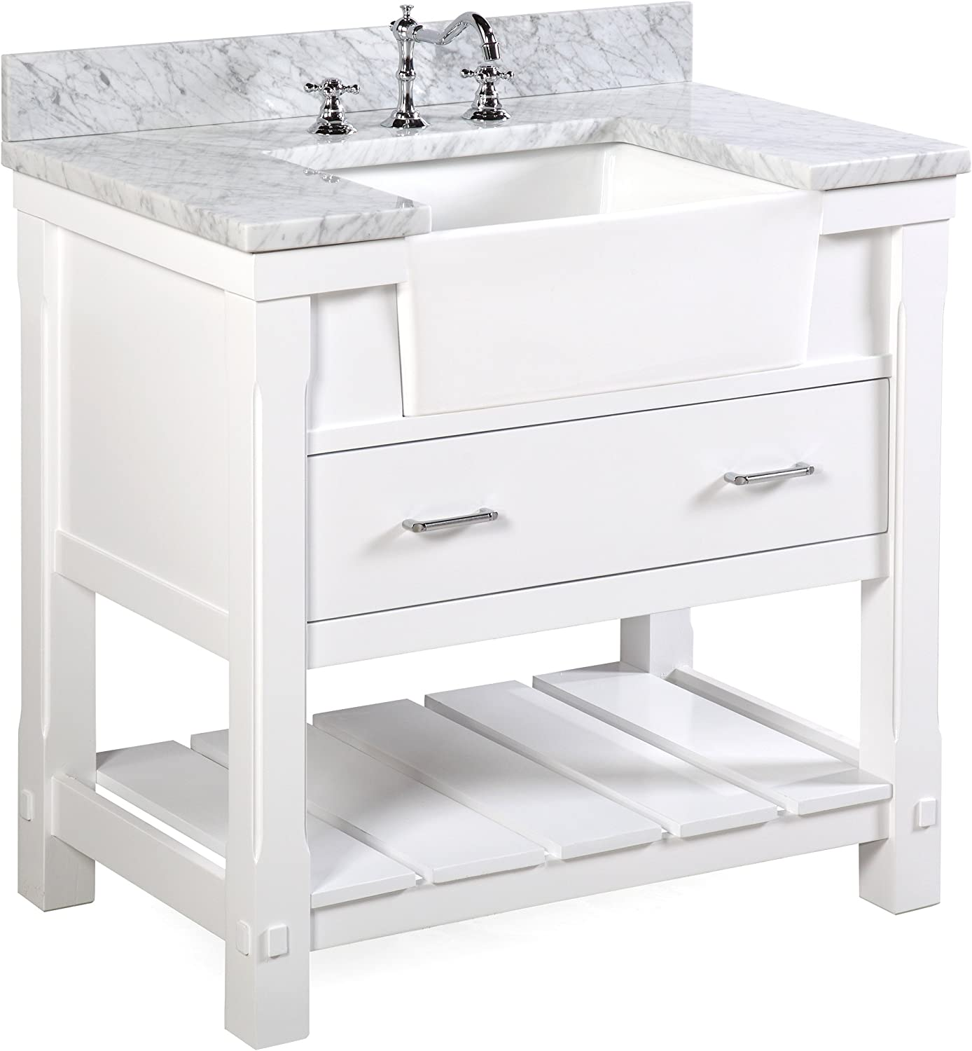 Charlotte 36-inch Bathroom Vanity Carrara White Includes a Carrara Marble Countertop, White Cabinet with Soft Close Drawers, and White Ceramic Farmhouse Apron Sink