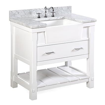 Charlotte 36 Inch Bathroom Vanity (Carrara/White): Includes A Carrara Marble