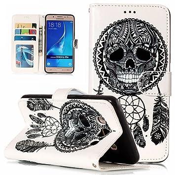WindTeco Funda Galaxy J5 2016, 3D Patrón Carcasa Cartera Flip de Piel PU Libro Billetera con Función de Soporte y Ranuras de Tarjeta para Samsung ...