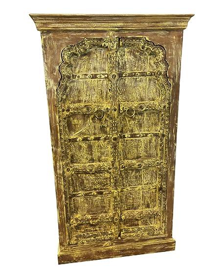 Mogulinterior Antique Cabinet, Mehrab Teak Doors, Yellow Rustic Almirah,  Hand Carved Clearance Sale - Amazon.com: Mogulinterior Antique Cabinet, Mehrab Teak Doors, Yellow