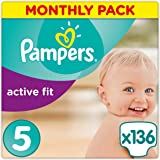 Pampers Active Fit Premium Protection, 136 Pannolini, Taglia 5 (11-25kg)