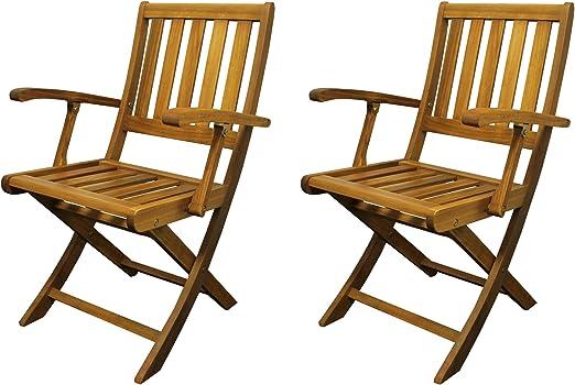 Colourliving® Set de 2 Fauteuil pliant chaise pliante de jardin en bois chaise avec accoudoirs bois d'acacia
