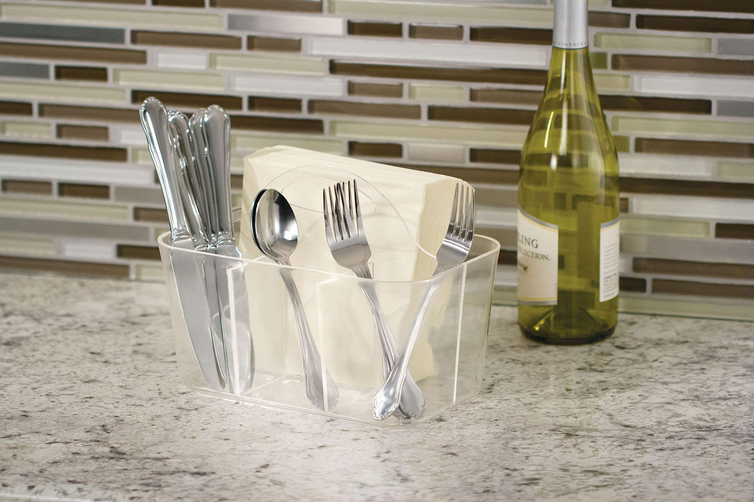 InterDesign Clarity Cutlery Flatware Caddy, Silverware, Utensil, and Napkin Holder - Clear