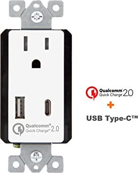 One Pack White 2.4A Dual Ports and 15A TT Electrical Receptacle and Wall Plate Smart Home Ideas USB Smart High Speed Charger Wall Outlet