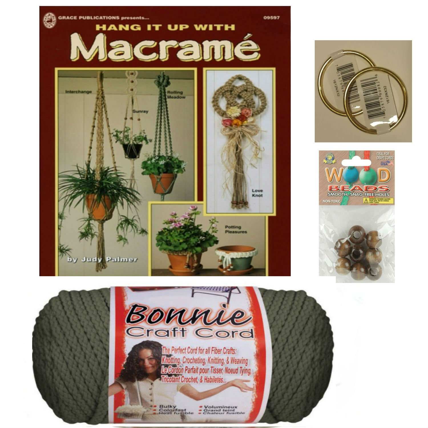 Macrame kit Bundle with Craft Cord, Wooden Beads, Rings, and Project Book for Plant Hangers and Wall hangings (Navy) Gideons Goods