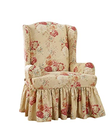 Ballad Bouquet By Waverly Wing Chair Slipcover   Blush