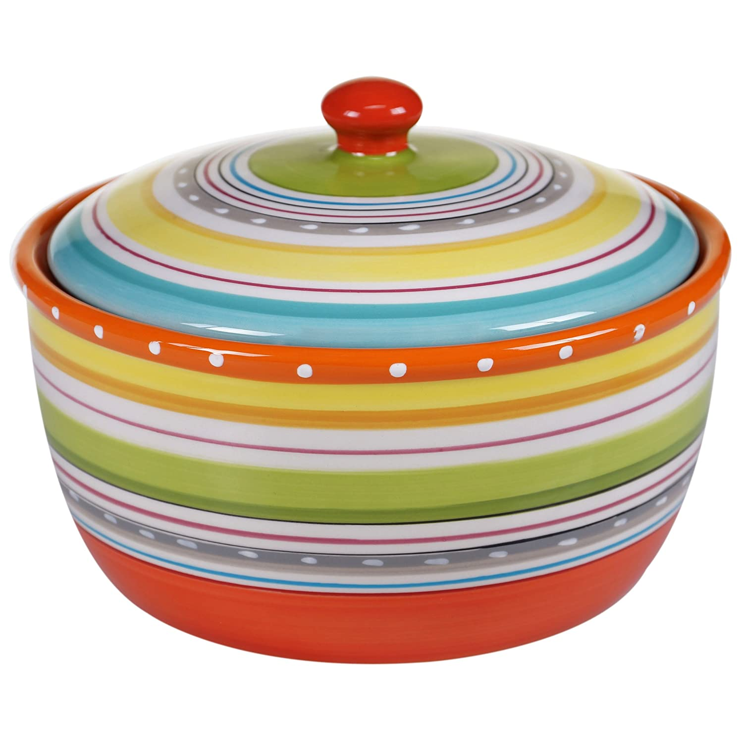 Certified International 25647 Mariachi Bakeware Bean Pot, 2.5 quart, Multicolor