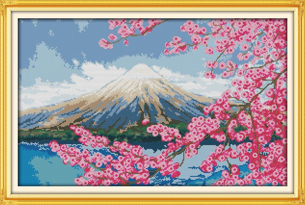Mont Fuji 61//× 41/cm Joy Sunday/® Kit point de croix 14/ct compt/é Kit /à broder sans motif needlework