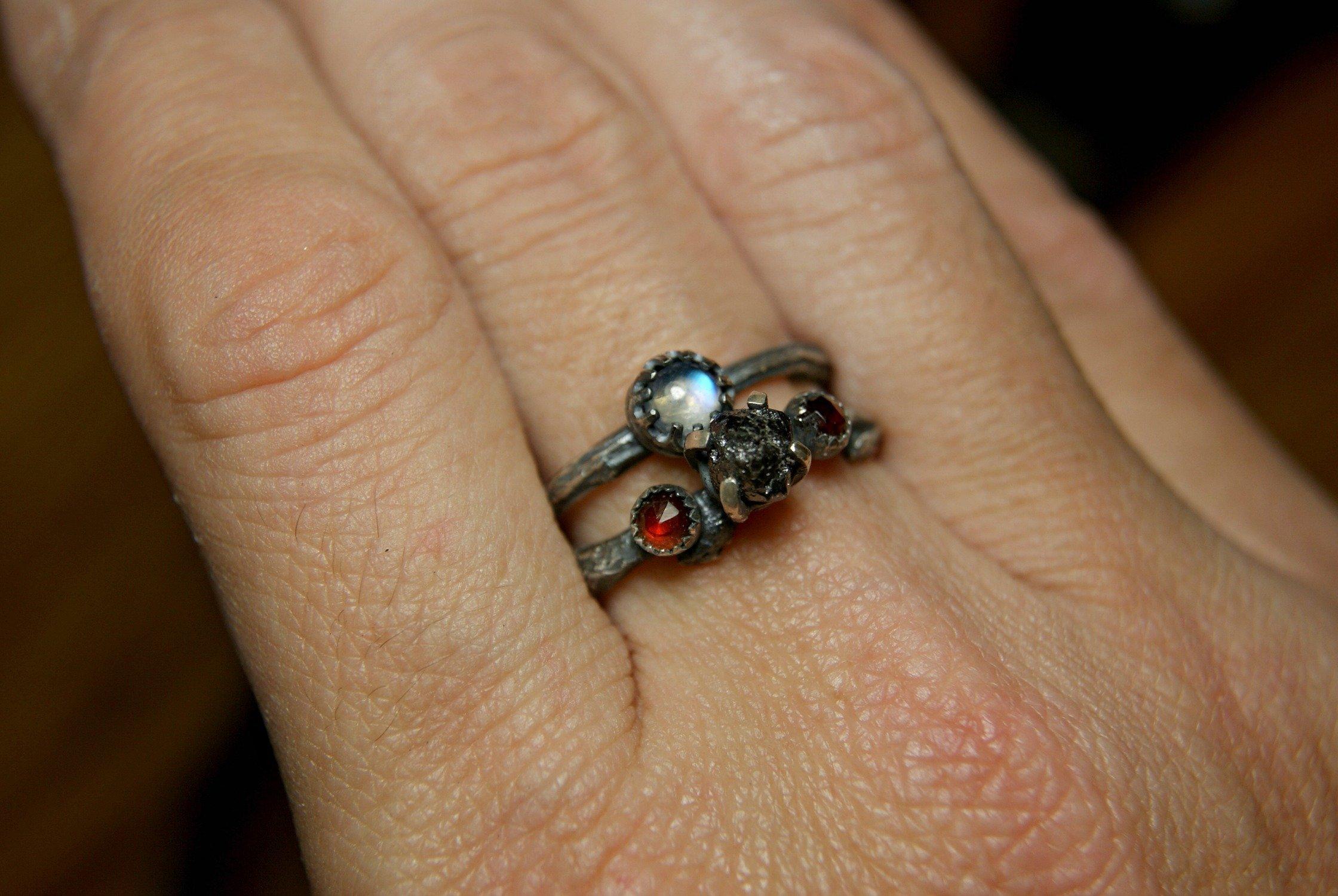 Rough Black Diamond Sterling Silver Twig Ring Moonstone Engagment Set