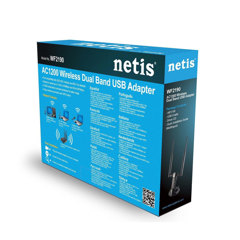 Netis WF2190 Wireless AC1200 Long-Range USB Adapter, Supports Windows, Mac, Linux, Two 5dBi High Gain Antennas, Free USB Cradle