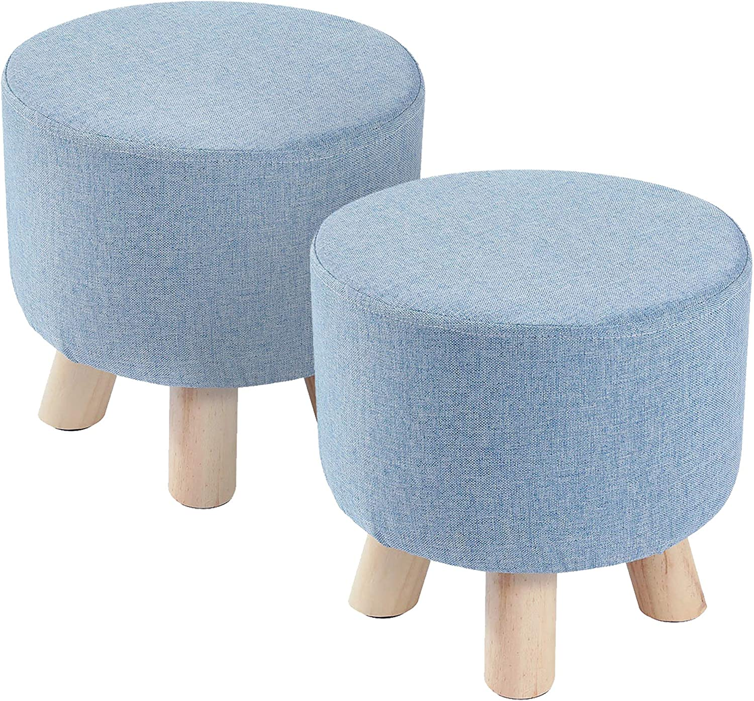 Muoldjin Padded Soft Round Ottoman Footrest Stool, Linen Fabric Padded Seat, Pouf Footstool Ottoman with Non-Skid Wooden Legs for Living Room, Bedroom, Kids Room, Blue, 2PC