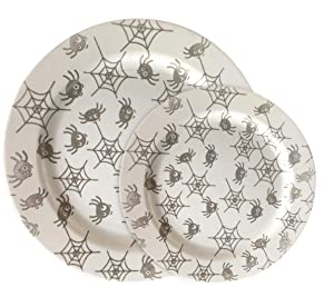 "Party Joy 30-Piece Plastic Dinnerware Set | Halloween Plates | Fun Spider Webs Collection | (15) 10.25"" Dinner Plates & (15) 7.5"" Salad Plates | Heavy Duty Premium Plastic Plates"