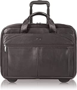 Solo New York Walker Rolling Laptop Bag - Fits Up to 15.6-Inch Laptop - Premium Leather Rolling Briefcase for Women and Men - Laptop Bag - Easy Glide Wheels - Full-Grain Leather - Espresso