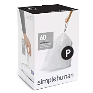 simplehuman Code P Custom Fit Drawstring Trash Bags, 50-60 Liter / 13-16 Gallon, 3 Refill Packs (60 Count)