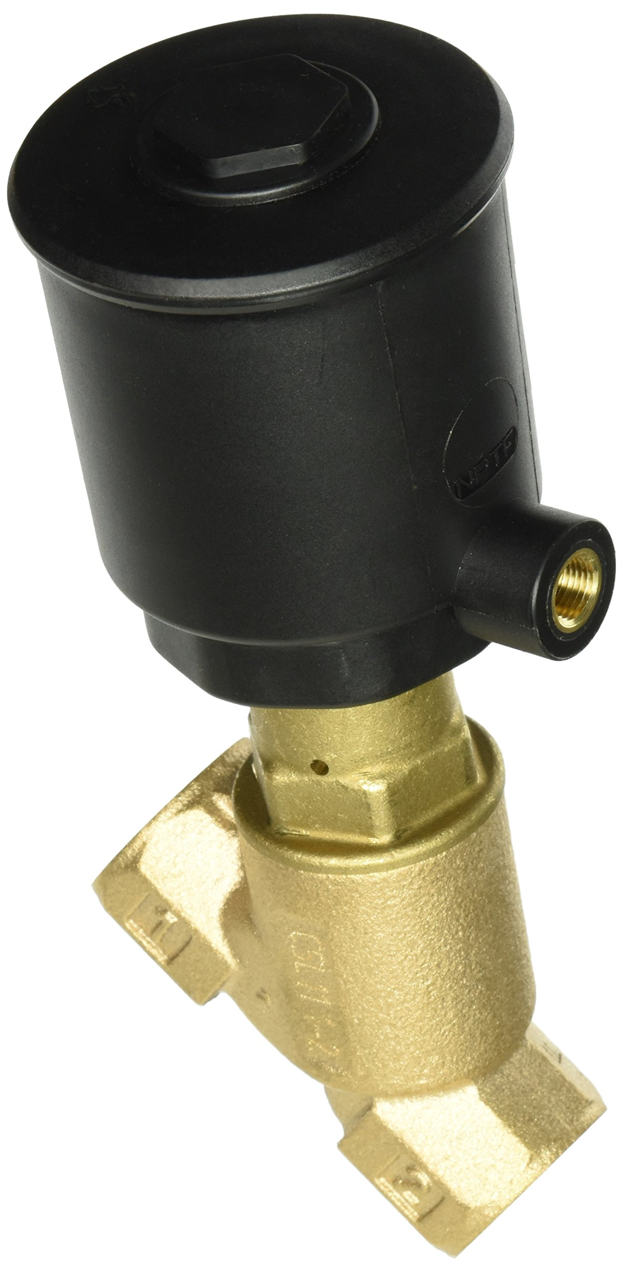 ASCO 8290A385 Bronze Body Air/Water Pilot Operated Angle Body Multi-Purpose Valve, 3/4'' Pipe Size, 2-Way Normally Closed, Entry Under the Disc, PTFE Sealing, 50 mm Valve Head Diameter, 3/4'' Orifice, 1