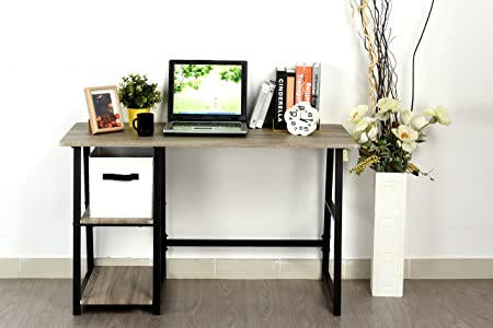 Weathered Grey Oak Computer Writing Study Trestle Desk Modern Vintage Home Office