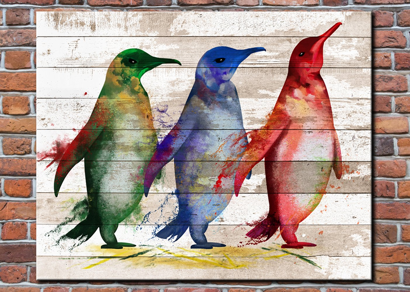 KLVOS - Colorful Abstract Animal Painting Artwork Adelie Penguin on Vintage Wood Textured Background Rustic Country Style Home Decor Giclee Print Frame Wall Art for Bedroom Ready to Hang 16''x20''
