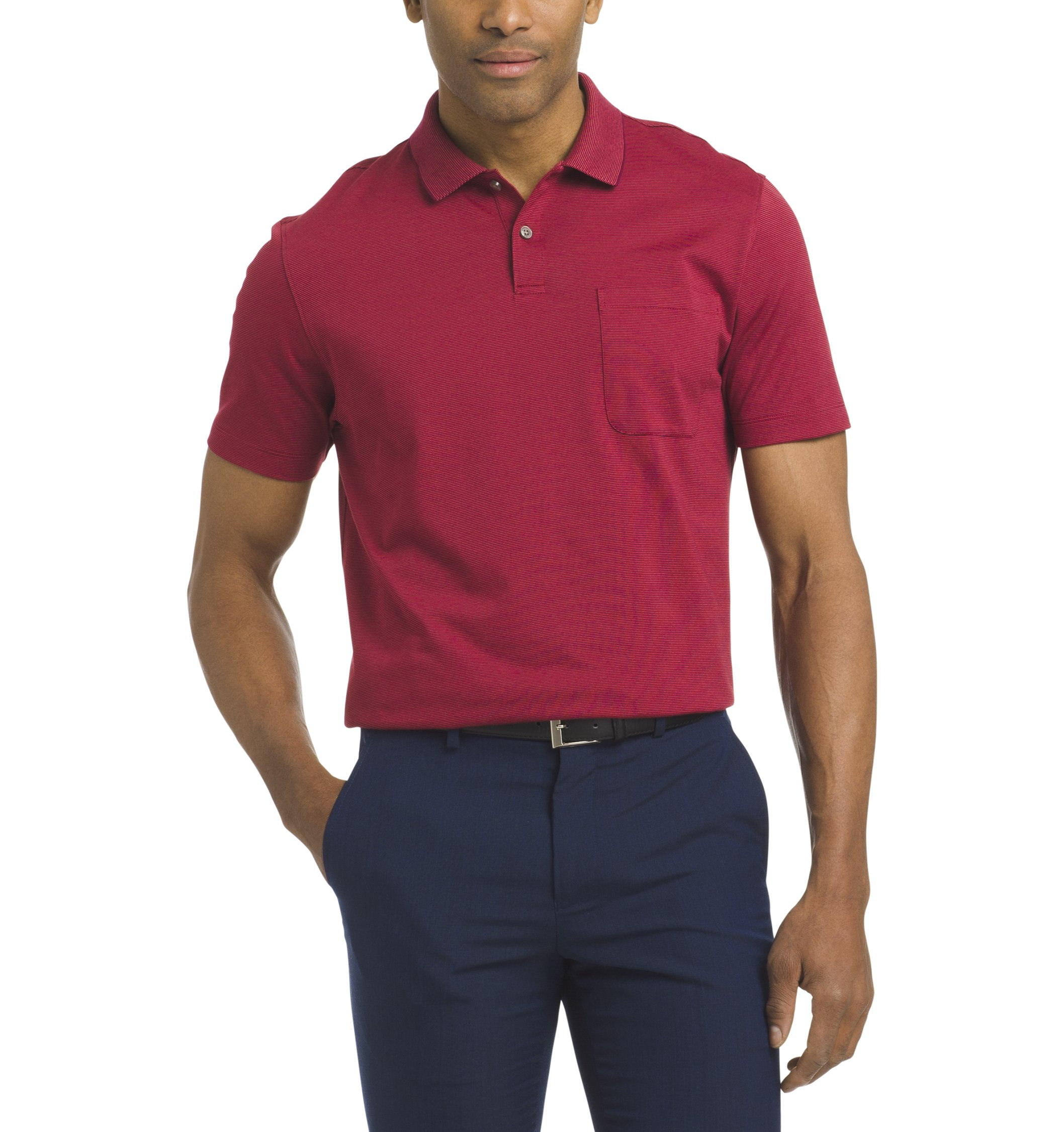 Van Heusen Men's Jacquard Stripe Short Sleeve Polo, Rhubarb, XX-Large