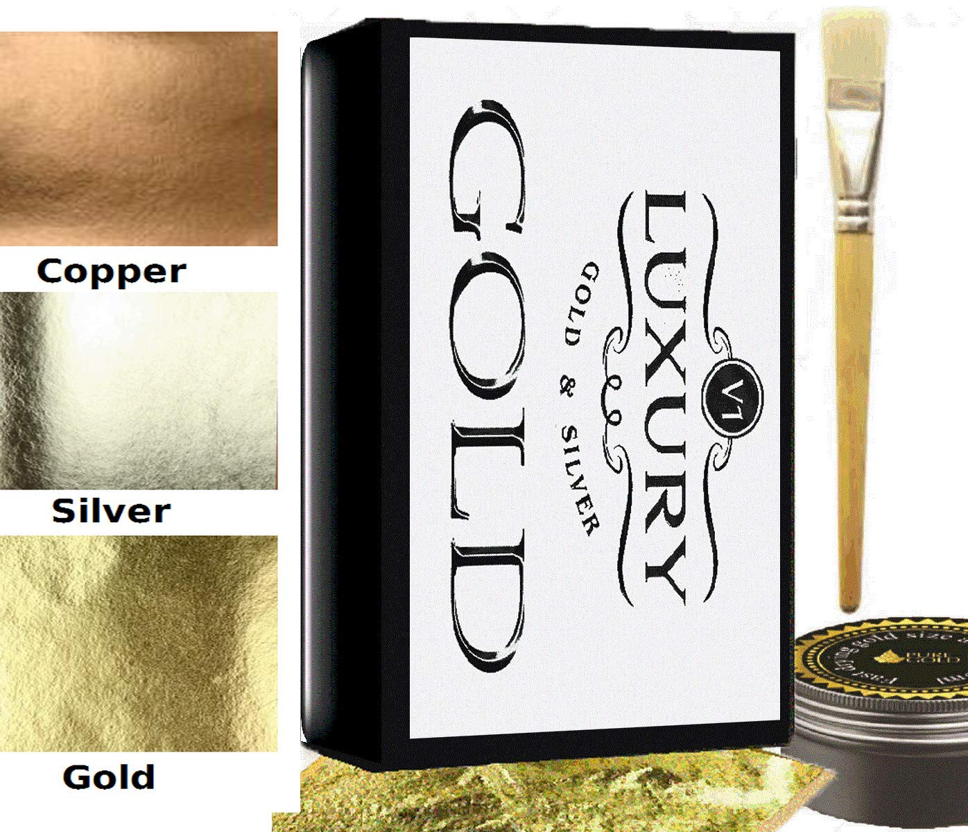 300 sheets Gold silver copper Leaf Kit Gold sheets 10ml Adhesive and Brush. pure gold