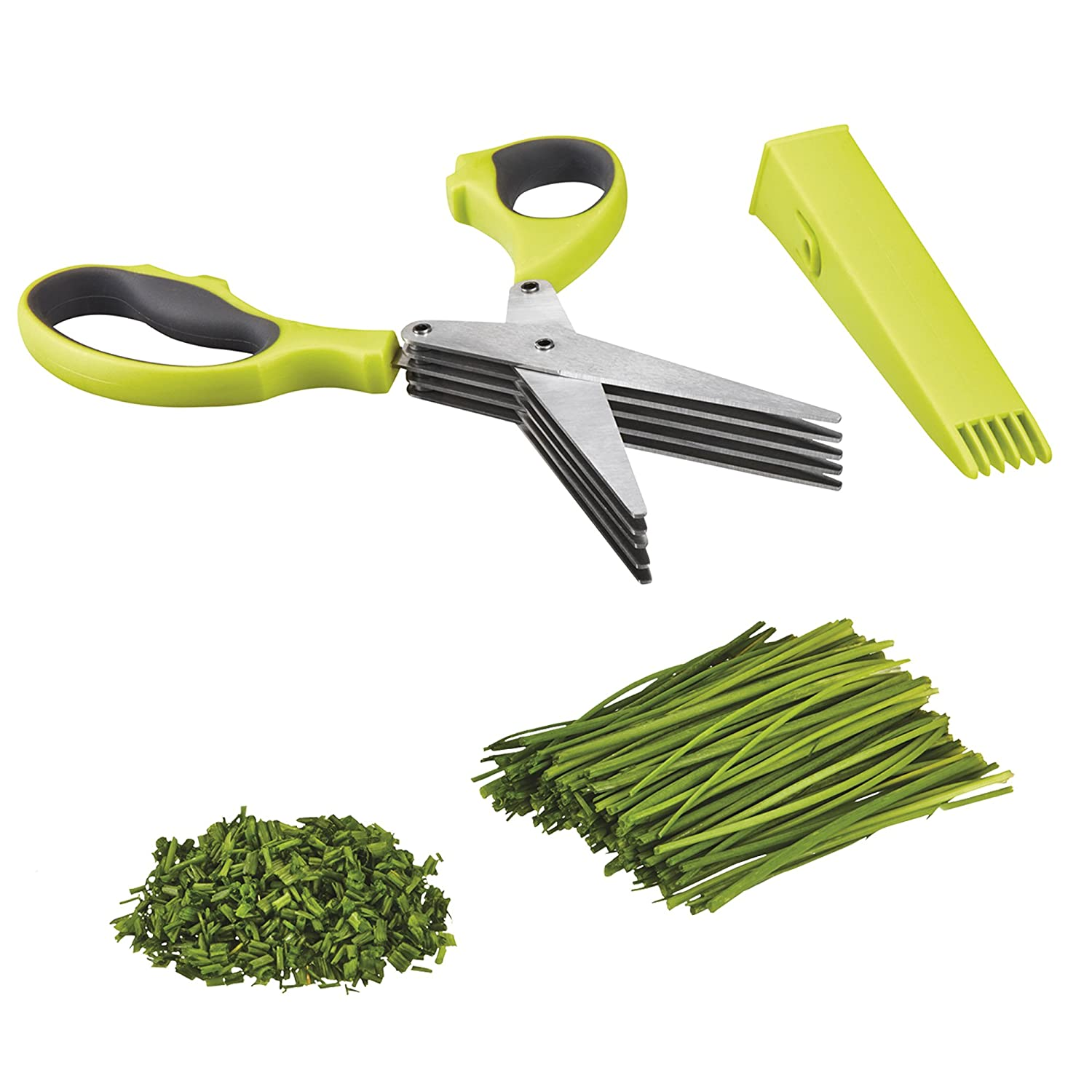 Garden Grow Herb Scissors Five Blade Multipurpose Cutters with Cover & Integrated Cleaner Clifford James