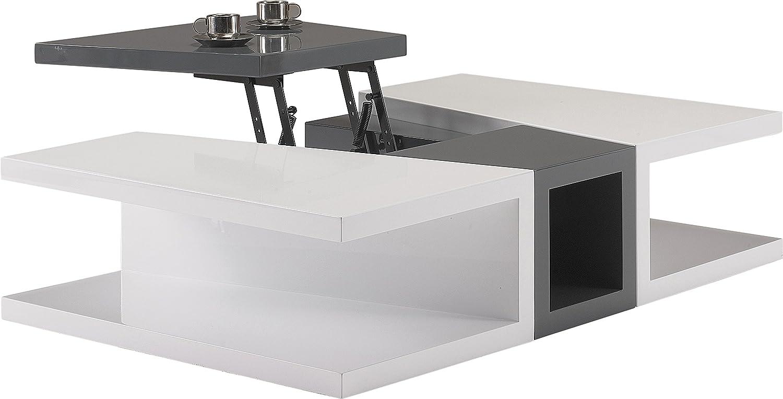 design Couchtisch LACK Liftfunktion Weiß und Anthrazit