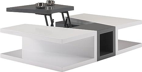 Destock Meubles Mesa Baja diseño Lacado, Color Blanco y Gris ...