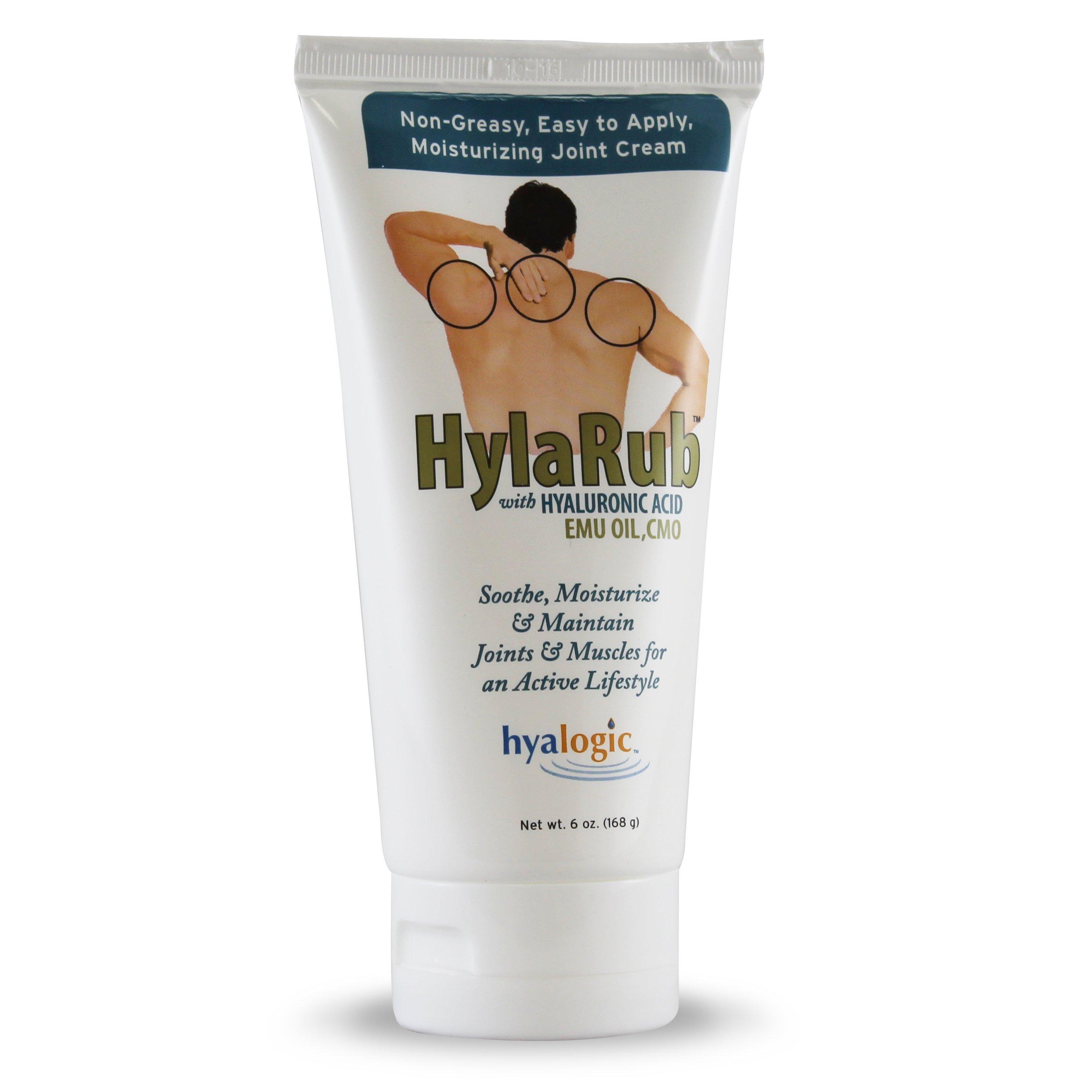 Hyalogic HylaRub - Hyaluronic Acid - Cetyl Myristoleate - Emu Oil - HA Soothing & Moisturizing Joint & Muscle Cream - 6 ounces (FFP)
