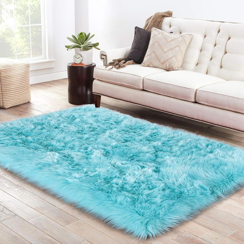 LOCHAS Soft Faux Sheepskin Fluffy Rugs for Bedroom Kids Room, High Pile Faux Fur Area Rug Bedside Floor Carpet Photography, 3x5 Feet Rectangular Light Blue