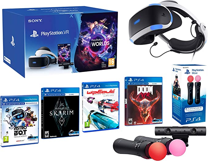 PlayStation VR2 [MegaPack]: Skyrim + Doom + WipEout + Astro Bot + VR Worlds + 2 Mandos Twin Move Controllers: Amazon.es: Videojuegos
