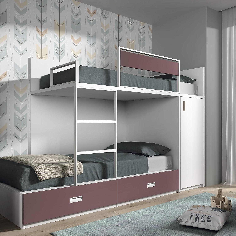 Meubles ROS Etagenbett mit 2 Schubladen und Schrank, 164,4 x 248,5 x 103,4 cm Weiß M  échelle à gauche