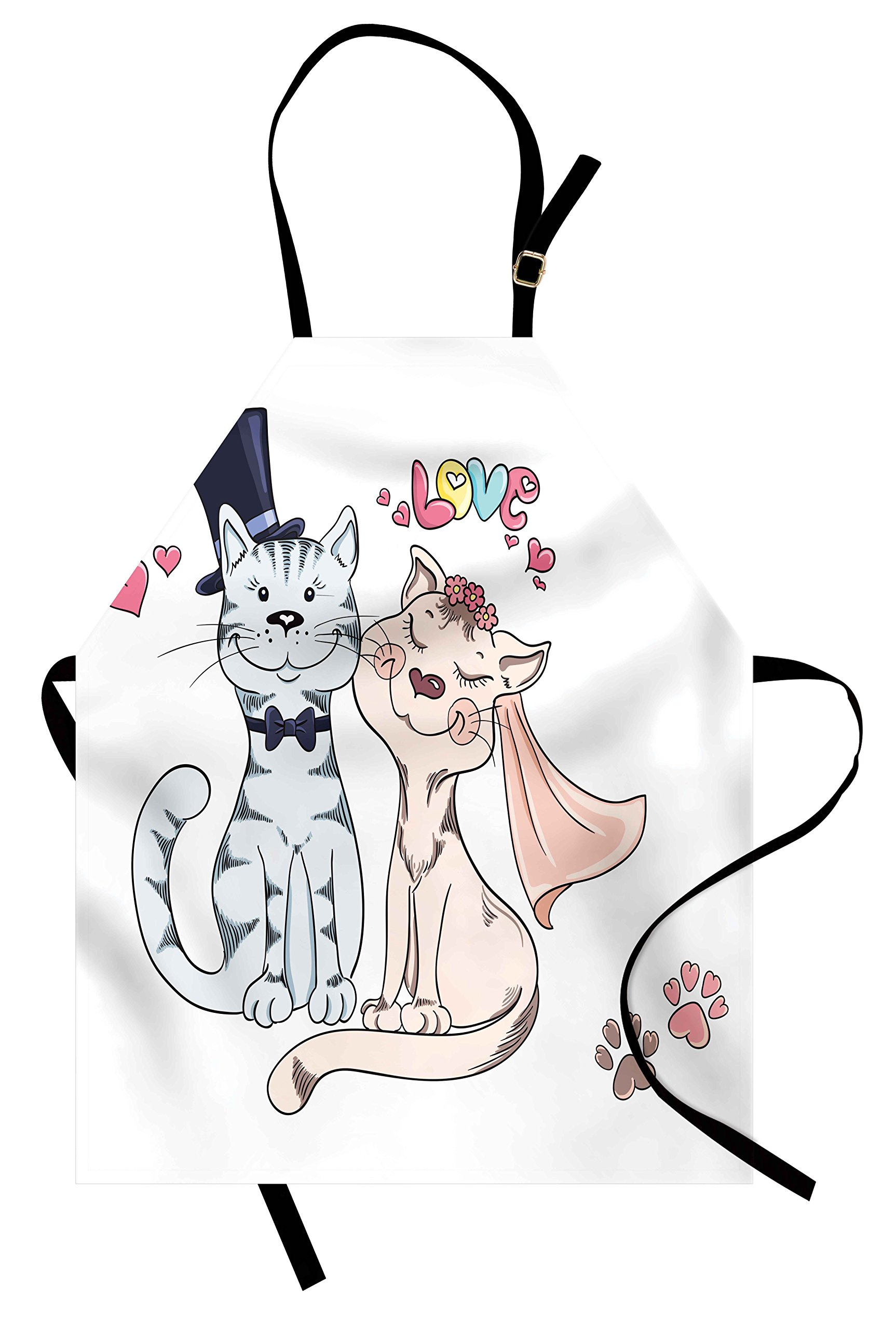 Lunarable Animals Apron, Groom Bride Cat's Wedding Feline Animals Married Romance Happy Ceremony, Unisex Kitchen Bib Apron with Adjustable Neck for Cooking Baking Gardening, Peach Baby Blue White by Lunarable (Image #1)
