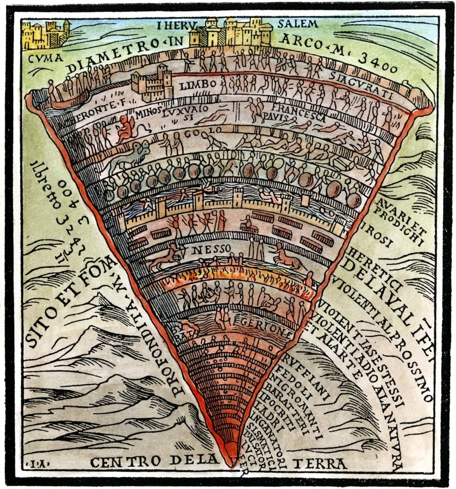 """Amazon.com: Posterazzi GLP469052LARGE Poster Print Collection Dante's  Inferno C1520. /Woodcut From A Venetian Edition Of The Divine Comedy C1520.  Poster Print By, (24 X 36""""), Multicolored: Posters & Prints"""