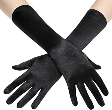 Stretchy Evening Opera Satin Gloves for Women Elbow Length 1920s Long Opera Party Satin Gloves