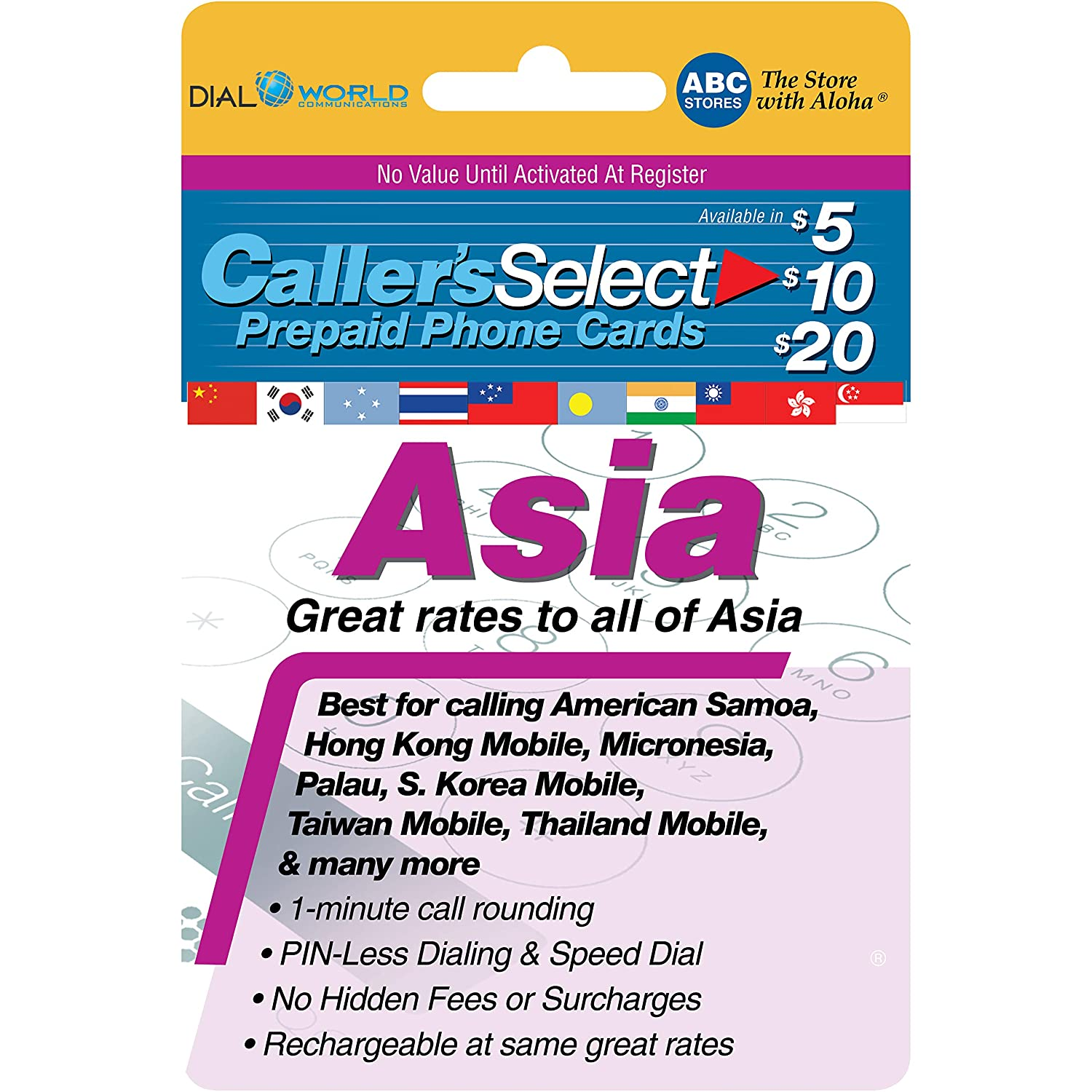 Amazon com: $20 Caller's Select Asia Phone Calling Card