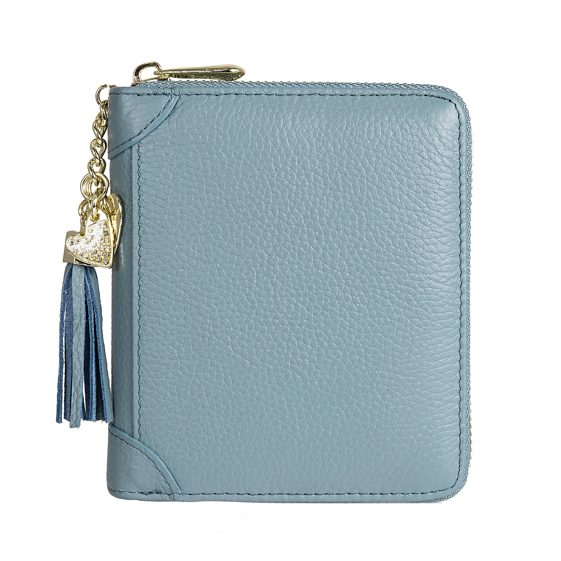SafeCard 40 Card Solts Women's Credit Card Case Wallet 2 ID Window and Zipper Card Holder (40 Card Blue) by ZORESS (Image #2)