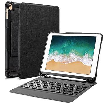 OMOTON abnehmbare Bluetooth Tastatur Hülle, deutsches Layout QWERTZ Wireless Keyboard Case Cover für Das iPad Air, Air 2, iPa